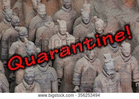 Quarantine in China. Warriors of famous Terracotta Army in Xian China - travel background
