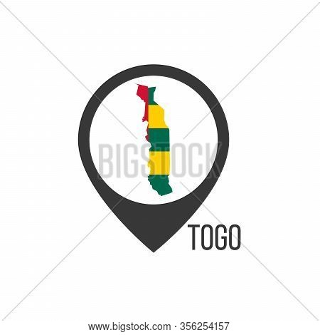 Map Pointers With Contry Togo. Togo Flag. Stock Vector Illustration Isolated On White Background.