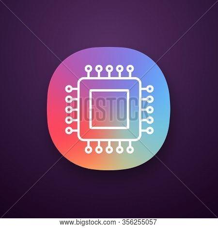 Processor App Icon. Ui Ux Interface. Microprocessor. Cpu. Central Processing Unit. Integrated Circui