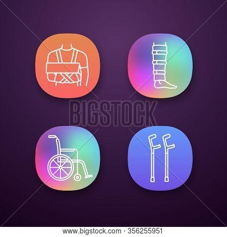 Trauma Treatment App Icons Set. Shoulder Immobilizer, Shin Brace, Wheelchair, Elbow Crutches. Ui Ux
