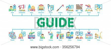 Guide Lead Traveler Minimal Infographic Web Banner Vector. Bus And Media Player Guide, Badge And Lou