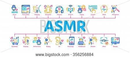 Asmr Sound Phenomenon Minimal Infographic Web Banner Vector. Asmr Autonomous Sensory Meridian Respon