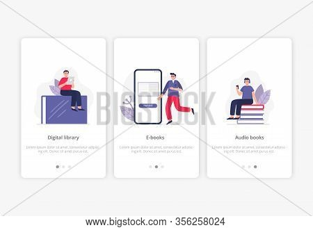 Set Of E-books Concepts. People With Giant Books And Phones Study Online, Read And Listen Books On T