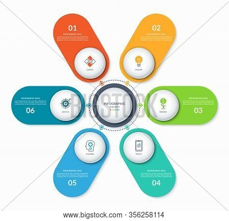 Infographic Round Chart With 6 Options. Can Be Used As A Diagram, Graph, Workflow Layout, For Web, R