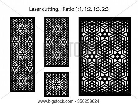 Set Of Decorative Vector Panels For Lazer Cutting. Template For Interior Partition In Arabesque Styl
