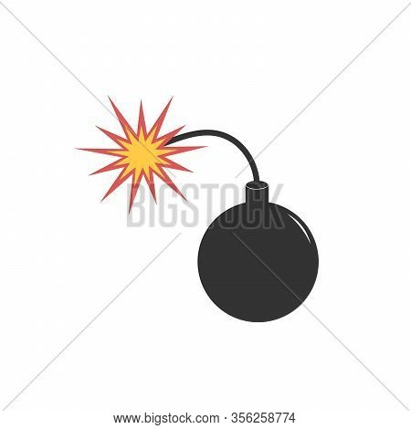 Bomb Icon In Trendy Flat Style Isolated On Grey Background. Bomb Icon Page Symbol For Your Web Site
