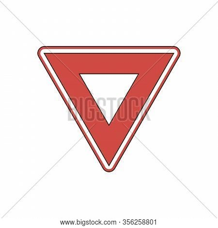 Yield Triangle Sign - Road Traffic Coordination Symbol As Black Silhouette On White Background
