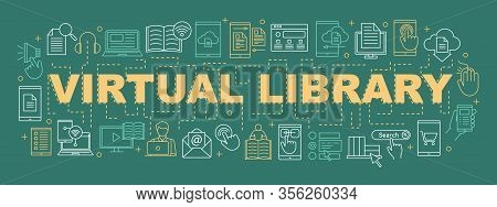 Electronic Library Word Concepts Banner. E-books. Presentation, Website. Virtual Library. Online Edu
