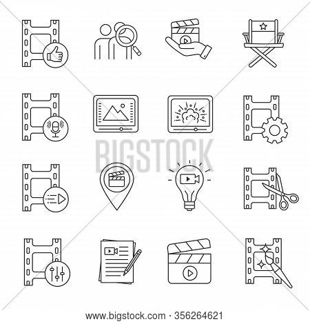 Film Industry Linear Icons Set. Video Production. Cinematography. Video Editing, Script Writing, Sou
