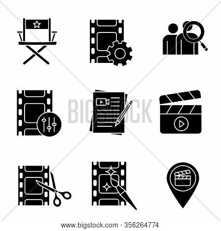Film Industry Glyph Icons Set. Video Settings, Directors Chair, Audience Research, Sound Mixer, Movi