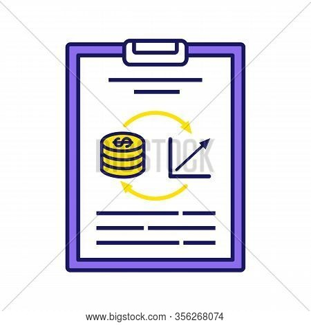 Performance Audit Color Icon. Financial Evaluation And Examination, Inspection. Financial Statement,