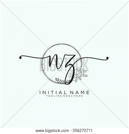 Nz Letter Initial Beauty Monogram And Elegant Logo Design, Handwriting Logo Of Initial Signature, We