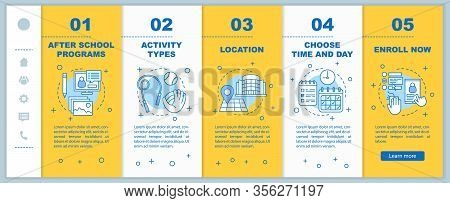 After School Education Onboarding Mobile Web Pages Vector Template. After School Learning Center. Af