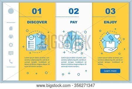 Online Shopping Onboarding Mobile Web Pages Vector Template. Digital Purchase. Discover Deal, Pay, E