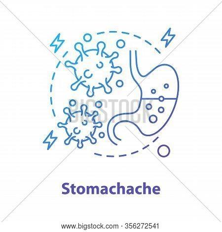 Stomachache Concept Icon. Indigestion Idea Thin Line Illustration. Stomach Upset. Gastroenterology.