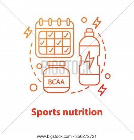 Sports Nutrition Concept Icon. Bcaa Supplement, Schedule, Water Bottle. Professional Sport Idea Thin