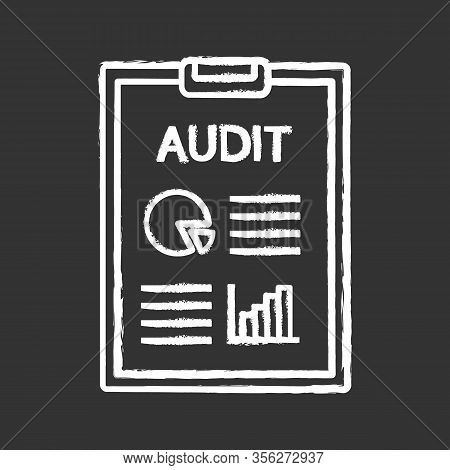 Audit Chalk Icon. Auditor S Report. Accounting And Bookkeeping. Assurance Service. Annual Report And