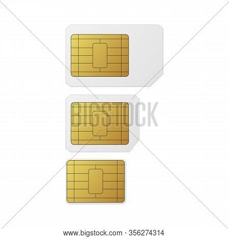 Sim Cards Set. Nano, Micro, Standard Vector Illustration Mobile Networks