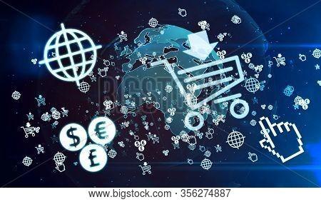 Online Shopping, Digital Business, Mobile Shop And Cyber Commerce Symbols On Digital Globe 3d Illust