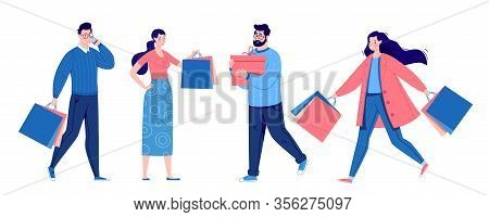 Set Of People Shopping. People With Packages And Shopping. Men And Women, Vanity, Sale. Vector. Illu