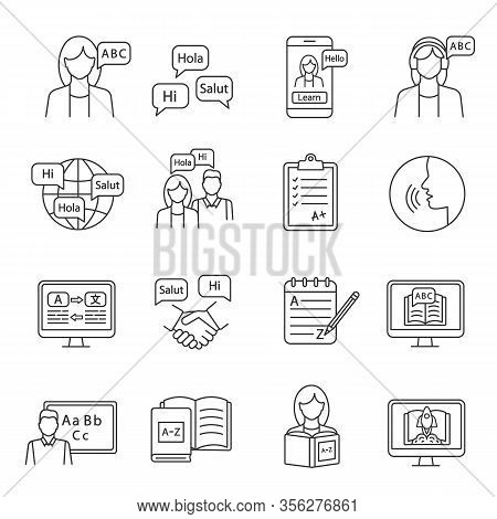 Foreign Language Learning Linear Icons Set. Speaking Club, Course, School. Basic Language Skills. Th