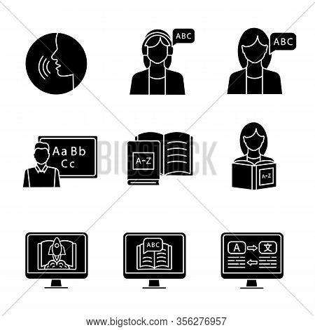 Foreign Language Learning Glyph Icons Set. Pronunciation, Listening, Teacher, Native Speaker, Books,