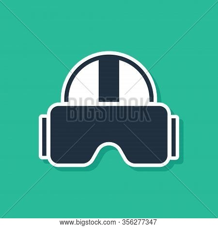 Blue Virtual Reality Glasses Icon Isolated On Green Background. Stereoscopic 3d Vr Mask. Vector Illu