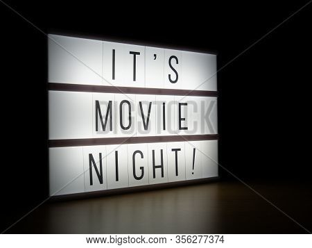 Led Light Box It's Movie Night Sign