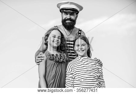 Dad Sailor And Daughters Outdoors. Captain Welcome On Board. Marine Tour. Sea Cruise. Handsome Beard
