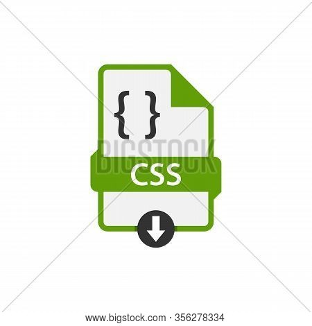 Green Css File Document. Download Css Button Icon Isolated On White Background. Css File Symbol. Abs