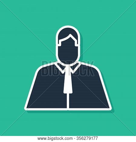 Blue Lawyer, Attorney, Jurist Icon Isolated On Green Background. Jurisprudence, Law Or Court Icon. V