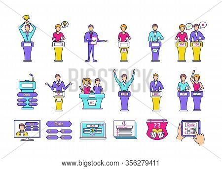 Quiz Show Color Icons Set. Intellectual Game Questions, Podiums, Buzzer Systems, Players. Quiz Tv Sh