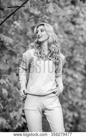 Sporty Girl. Woman Enjoy Autumn Season In Park. Warm Knitwear. Feel Practicality And Comfort. Model