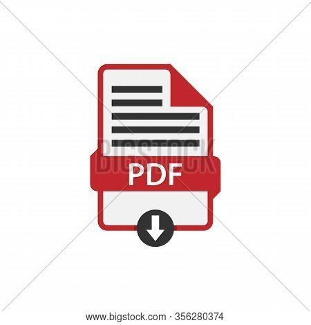 Pdf Document Download Pdf File Format Vector Image. Pdf File Icon Flat Design Graphic Pdf Vector