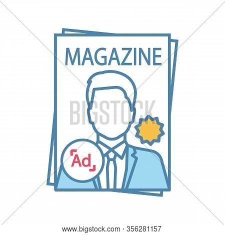 Magazine Color Icon. Tabloid. Print Media. Periodical Publication With Celebrity Photo. Paper Magazi