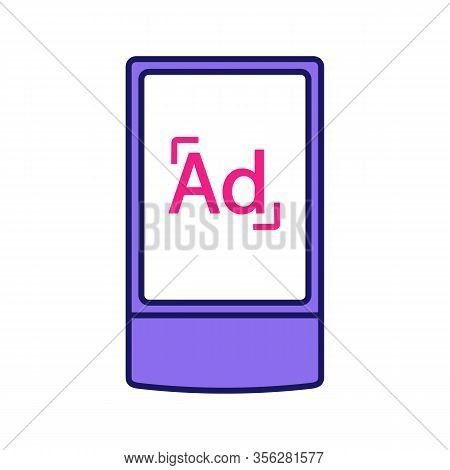 Street Advertising Lightbox Color Icon. Outdoor Scrolling Billboard Stand. Led Advertising Light Box