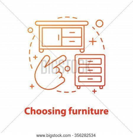 Choosing Furniture Concept Icon. Interior Design Idea Thin Line Illustration. Cabinet, Dresser. Vect