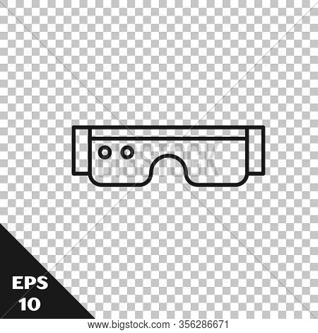 Black Line Smart Glasses Mounted On Spectacles Icon Isolated On Transparent Background. Wearable Ele