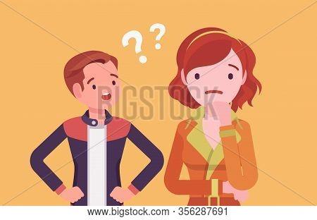Misunderstanding, Communication Problem Between Man, Woman. Couple Feeling Disagreement Or Quarrel,
