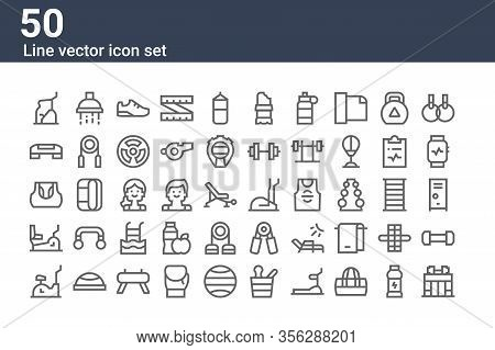 Set Of 50 Gym Icons. Outline Thin Line Icons Such As Gym, Stationary Bike, Stationary Bike, Gym Top,