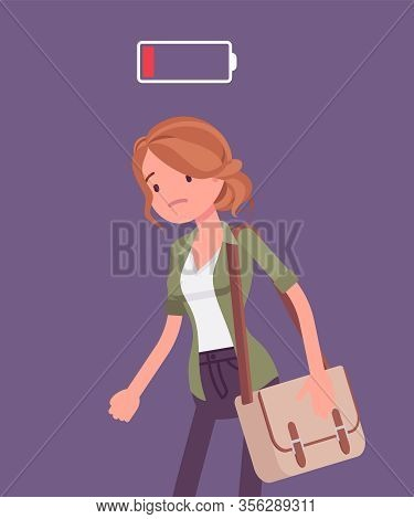 Discharged Woman, Low Power Battery. Empty Weary Girl, Feeling Tired, Fatigued After Working, Extrem