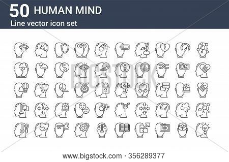 Set Of 50 Human Mind Icons. Outline Thin Line Icons Such As Idea, Bipolar, Goal, Imagination, Confli