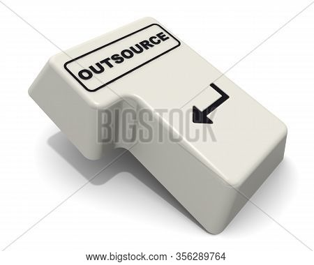 The Enter Key Of Keyboard Labeled Outsource. Computer Enter Key Of Keyboard With Black Word Outsourc
