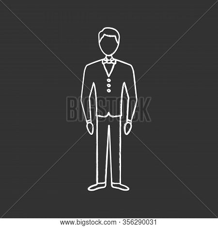 Bridegroom Chalk Icon. Fiance. Groom Tuxedo. Man In Wedding Suit. Formal Wear For Men. Isolated Vect