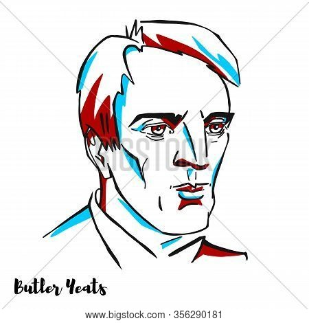 William Butler Yeats Engraved Vector Portrait With Ink Contours. Irish Poet And One Of The Foremost