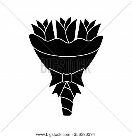 Wedding Bouquet Glyph Icon. Bridal Bouquet. Wedding Flowers. Floristry. Flower Arrangement. Silhouet