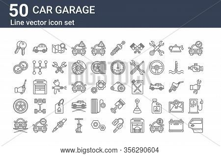 Set Of 50 Car Garage Icons. Outline Thin Line Icons Such As Car Door, Elevator, Wheel, Screwdriver,