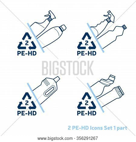 Recycling Code 2 (pet - Polyethylene Terephthalate) Outline Icons Set. Empty Clear Plastic Bottles O