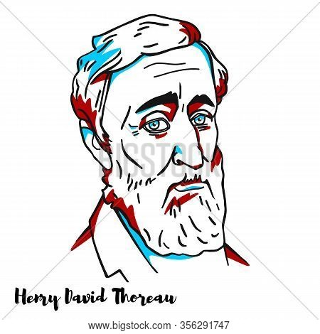 Henry David Thoreau Engraved Vector Portrait With Ink Contours. American Essayist, Poet, And Philoso