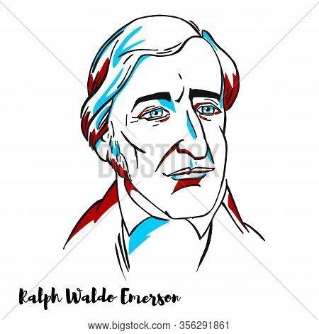 Ralph Waldo Emerson Engraved Vector Portrait With Ink Contours. American Essayist, Lecturer, Philoso